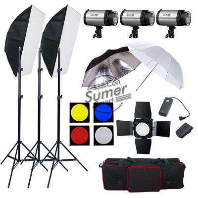 900W Photography Studio Flash Kit Strobe Soft Box Softbox Lighting Stand Photo