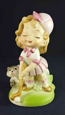Girl Golfer & Kitten Figurine