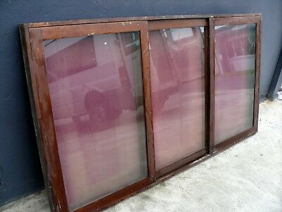 Antique Cedar Wall Mounted Glass Display Case Medals Posters Models Cabinet #2