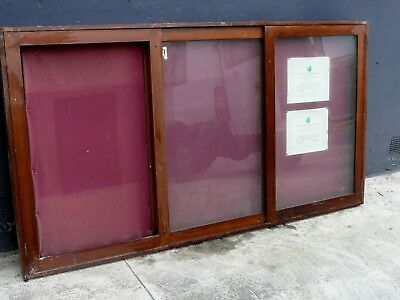 Antique Cedar Wall Mounted Glass Display Case Medals Posters Models Cabinet