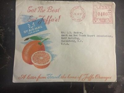 1957 Tel Aviv Israel Commercial Cover Jaffa Oranges to Washington Dc USA