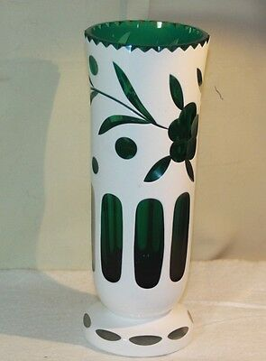 """BOHEMIAN CZECH Vase Cased Glass White Overlay Cut to Green Flowers Vintage 9"""""""