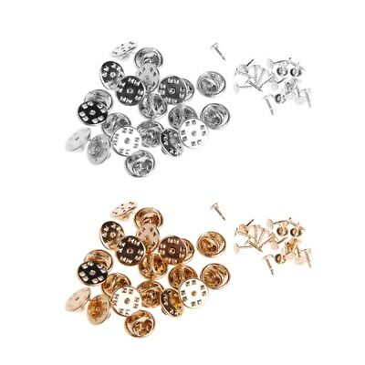 DIY 20/200x Brooch Round Clasps Pin Tie Tacks Blank Pins with Clutch Back Sliver