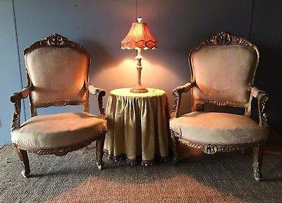 Pair of Large 19th Century Antique French Louis Arm Chairs 4 Restoration x2  NR!