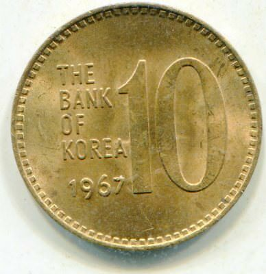 Korea, south 10 Won 1967 pretty HG coin all red very scarce lotmar6975