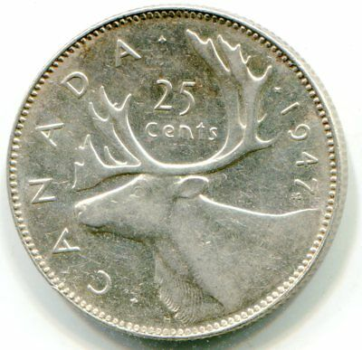 Canada  25 Cents 1947 ML high grade coin   lotmar2588