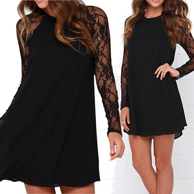 Elegant Women Ladies Lace Chiffon Knee Mini Dress Loose Party Short Dress UK