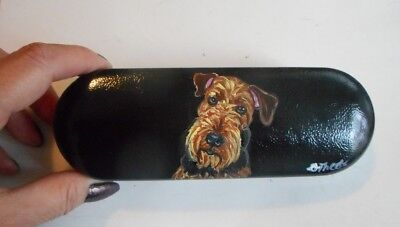 Airedale Terrier Dog Hand Painted Eyeglass case faux Leather