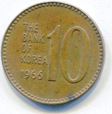 Korea, South 10 Won 1966 nice HG coin v scarce  lotmar2514