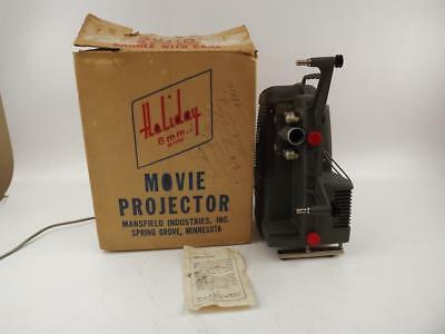 Mansfield Holiday M-1000 Vintage 8mm Movie Projector W/Original Box