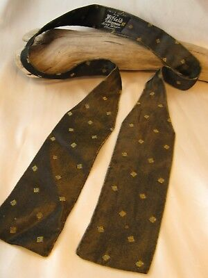 Vtg Antique Edwardian Silk Bow Tie Check Pattern on Black, Made in England