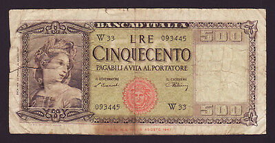 ITALY  -  500 lire,1947  -  P 80a  -  FINE  -  REPLACEMENT NOTE