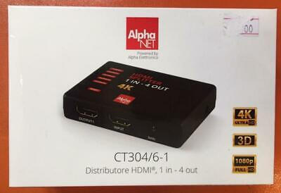 Distributore Hdmi 1 In 4 Out 4K 3D Full Hd Equalizzate Alpha Elettronica Ct304/6