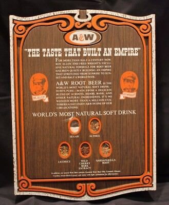RARE Vtg A&W Rootbeer Store Advertising Sample Display - Natural Roots Sign