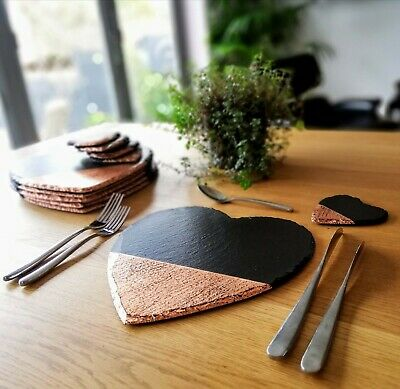 Heart placemats, slate & copper, coasters, handmade, copper/silver/gold new home