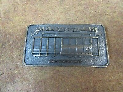 "Vtg San Francisco,Cable Car Bergamot Belt Buckle,2-3-3/4"",1976~NICE   #BB3.13.13"