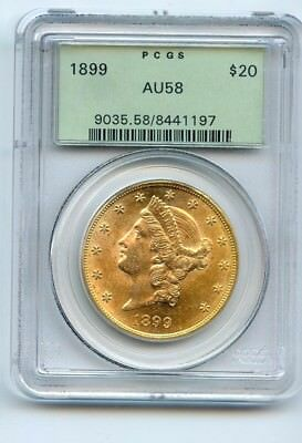 1899 $20 Liberty Head Gold (AU 58) OLD GREEN HOLDER PCGS! NICE COIN!!!