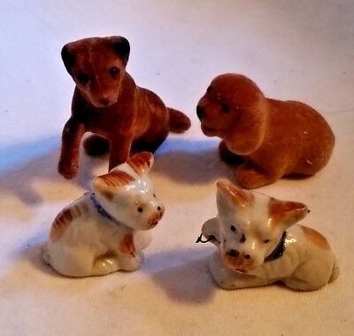 """4 pc Collectible Dogs Puppies 2 Vintage Ceramic (Japan), 2 Flocked, 1.5""""-2"""" excl"""