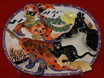 Fitz and Floyd WITCH HAZEL Platter BIG Halloween Cat Server Serving Plate Dish