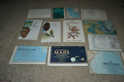 Lot of 11 National Geographic maps Middle American US Canada Mars Europe World