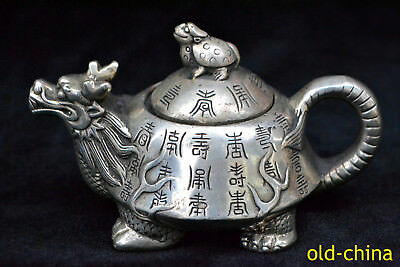 Collectible Chinese Handwork Old Tibet Silver tortoise dragon antique Teapot