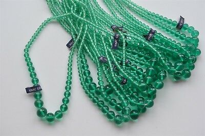 12 Made In Occupied Japan Light Emerald Graduated Bead Strands 4-12mm -K212