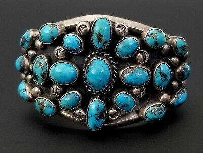 Vintage Phil T. Native American Navajo Turquoise Sterling Silver Cuff Bracelet