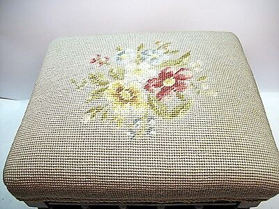 Antique Floral Needlepoint Wooden Spindle Footstool Dowel Joined