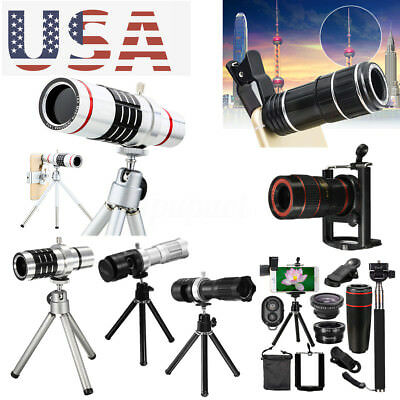 Clip-on 8/12/14/18X Zoom Camera Phone Lens Telescope Telephoto Monocular Tripod