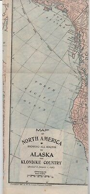 1897 Color Map of North America showing Routes to Alaska Gold Field & Klondike