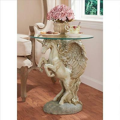 Winged Divine Stallion Pegasus Glass-Top Sculptural Table