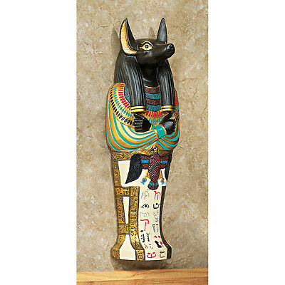Ancient Egyptian Jackal God Anubis Sarcophagus Wall Sculpture