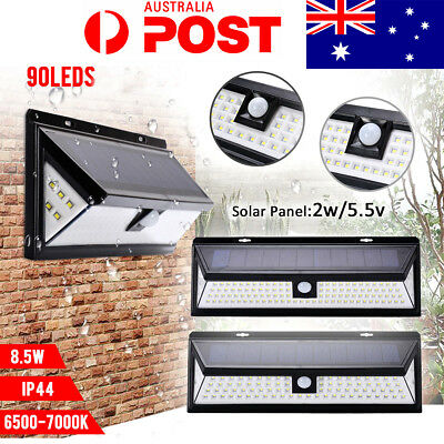 90 LED Solar Power Wall Light PIR Motion Sensor Outdoor Garden Security Lamp AU
