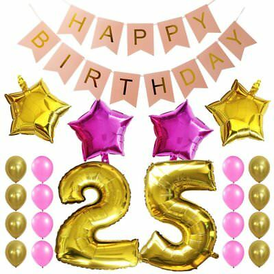 KUNGYO 25Th Birthday Party Decorations Kit Pink Happy Brithday BannerNumber 25