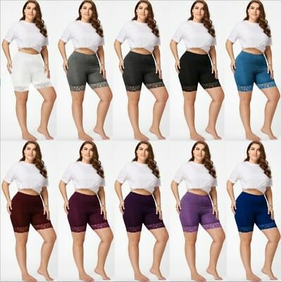 Plus Size XL-5XL Womens Elastic Lace Trim Under Pants Shorts Leggings Safety