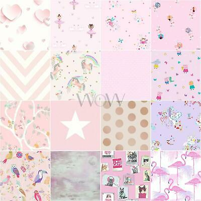Kids Girls Pink Lilac Wallpaper Dots Stars Unicorn Mermaid & More