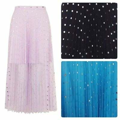 Women's New Topshop Foil Spot Pleat Tulle Skirt 3 Colours In Sizes Uk 4 To 16