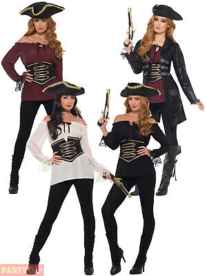 Ladies Deluxe Pirate Jacket Shirt Fancy Dress Accessory Adults Buccaneer Outfit