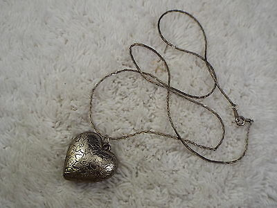 Silvertone Etched Puffed Heart Pendant Necklace  (C10)