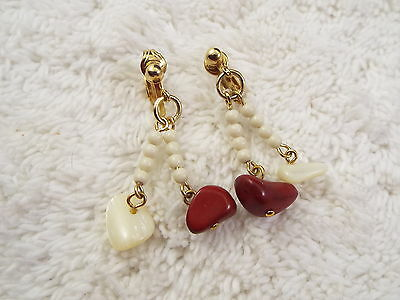 Goldtone Red Jasper Stone & Mother of Pearl Shell Clip-on Earrings (B4)