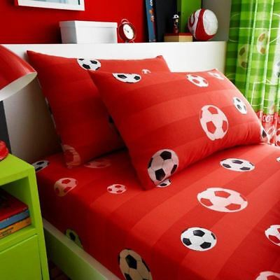 Goal Football Single Fitted Sheet & Pillowcase Set Bedding Kids Red