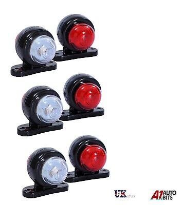 6 Red White Corner Side Marker LED Lights Outline Lamp Truck Trailer Van Bus 12V