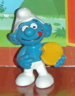 Vintage Very Rare Bisquit Smurf With A Cookie W. Germany Smurf Lot