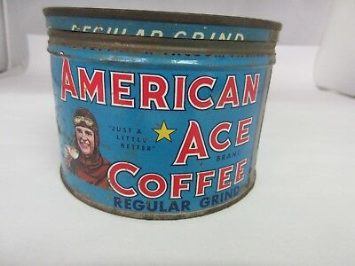Vintage American Ace Brand  Coffee Tin Advertising Collectible Graphics M-10
