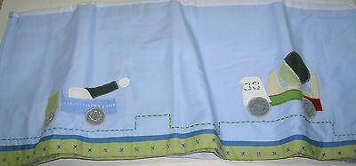 Pottery Barn Kids Blue Christopher's Construction Trucks Baby Crib Bed Skirt New