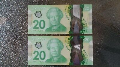 2 Canadian $20 Dollar Bank Note Bill CONSECUTIVE NUMBERS Canada 2012 EXCELLENT
