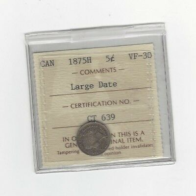 **1875H Large Date**, ICCS Graded Canadian,  5 Cent, **VF-30**