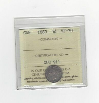 **1889**, ICCS Graded Canadian,  5 Cent, **VF-30**