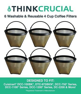 6 Replacements Cuisinart GTF4 Gold Tone Coffee Filters Part # DCC-450 Small