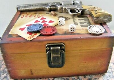 Gambler WOODEN BOX DECORATED with Chips, Dice, Cards, Gun, Bullet  Western Decor